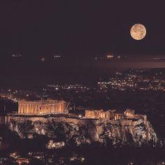 14 November _ Supermoon over Acropolis Greece RP Acropolis Greece, Paradise On Earth, Super Moon, Paris Skyline, 14 November, Sunset, Amazing, Travel, Instagram