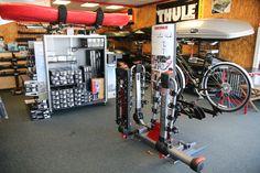 Inside Rack N Road San Jose, CA showing our Yakima bike rack section