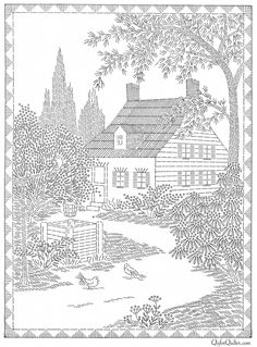 Two story cottage house english garden picture 3160 digital hand embroidery pattern 14 quot;x 20 quot; wishing well pine tree green shrubs flower 10 ways to plant a beautiful english garden Embroidery Transfers, Hand Embroidery Patterns, Vintage Embroidery, Embroidery Stitches, Embroidery Sampler, Machine Embroidery, Quilt Patterns, Advanced Embroidery, Design Patterns