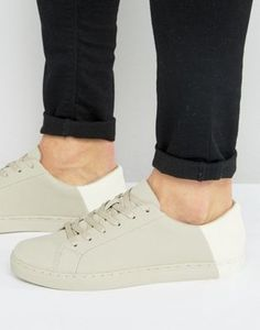ASOS Trainers In Stone With Contrast Heel Retro Sneakers, High Top Sneakers,  Men s Sneakers d2d48a12bb