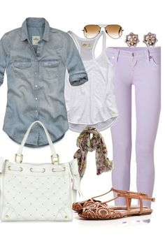 Lavender & jean.. Not to mention those earrings. #todiefor