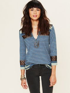 Free People Stripe Crochet Tee at Free People Clothing Boutique