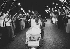 You've gotta love a sparkler send off on a scooter!