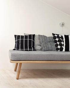 """Tiiliskivi, Pirput Parput, Varvunraita, Kivet and Juhlaraita // // Want to join? Living Furniture, Cool Furniture, Furniture Design, Marimekko, Black And White Interior, Banquette, Scandinavian Interior, Home Living Room, Home Textile"
