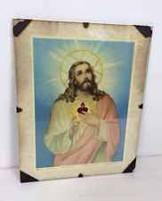 Vtg Antique 40s Religious Print Jesus Sacre Coeur French Framed Picture