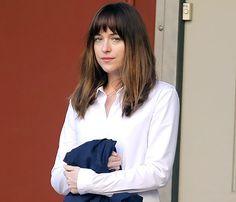 Dakota Johnson on set of 'Fifty Shades Of Grey' on Jan. 16, 2014