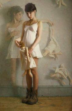 """Le Temps est Venu"" - Louis Treserras (French, b. 1958) {figurative realism art beautiful young female woman teddy dolls} <3 Alluring!!"