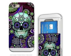 Purple Sugar Skull iPhone 6 6s Credit Card Case - Sugar Skull Sombrero Night - Day of the Dead Cardholder Wallet Case for iPhone 6s