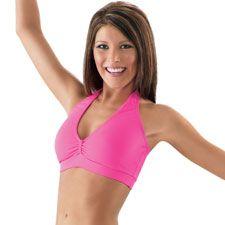38660bf3e82ce Pinch Front Halterneck Dance Bra Top  Balera Affordable Workout Clothes