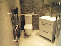 Stuart from Sunderland efficiently uses space in this small bathroom with first-rate white bathroom furniture and a stylish chrome radiator. #VPShareYourStyle