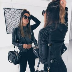 All black outfit with purse and sunglasses inspiring ladies Edgy Outfits, Mode Outfits, Cute Casual Outfits, Fall Outfits, Fashion Outfits, Womens Fashion, Black Outfits, All Black Outfit Casual, Ladies Fashion