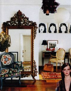lacy oversized mirror, suzani chair, modern print
