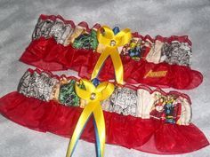 Handmade wedding garters keepsake and toss AVENGERS Super Hero wedding garter set. $28.00, via Etsy.