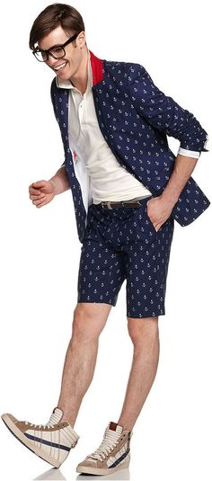 Navy and White Print Shorts by WD.NY. Buy for $45 from Macy's