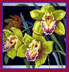 Rare Rossi ExoticFloral Needlepoint Kit ElegantCymbidium Orchids