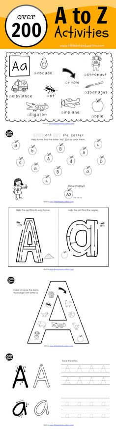 Download and get over 200 pages of a to z activities and worksheets to help your preschool, pre-k or kindergarten children recognise the uppercase and lowercase letters, learn things that begin with each letter, practice tracing and writing the alphabet, learn the letter sounds and many more!