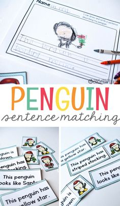 Penguin sentence matching is a wonderful resource this winter! Visualization is such a tough skill to grasp in reading and writing. This sentence matching activity is a simple, but effective activity for young writers and readers. It is also great for student conferencing. It's perfect for your preschool, pre-k, Kindergarten, and Grade school classroom! #kids  #kindergarten #preschool #firstgrade #holiday #winter