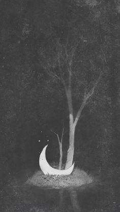ghoulnextdoor:  Moon, Deep in the inner forest, by Maxim Kozlov  luna moon