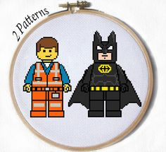 Emmet and Batman from the Lego Movie 2 cross by JuliefooStitches, $1.45