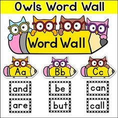 Word Wall Owl Theme: This fun owl theme word wall set will look fantastic on your classroom wall! This set is so versatile because you can make any words that you want with the included blank labels and editable PowerPoint file. This product is also available for a discounted price in my  Smarty Pants Owls Classroom Theme Pack.This product includes: - a large Word Wall poster in two sizes: 11 by 8.5 and 22 by 8.5. - a set of A to Z fun owls labels- a set of the Fry Sight Words 300 most…