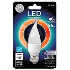 GE Lighting 89950 Dimmable Decorative LED Light Bulb, 4.5 Watts, White