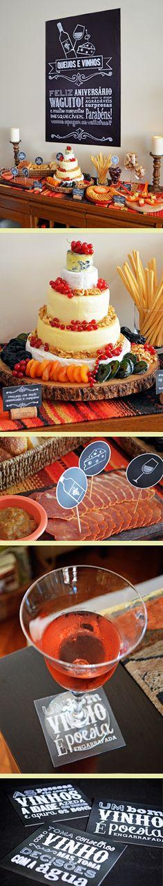 Degustação de queijos e vinhos super linda! Cada convidado pode levar um queijo ou um vinho para ter muitas opções diferentes.