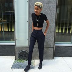 Black high-waisted trousers - smart/casual