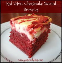 Last but not least in the Yums for the Tum Red Velvet / ‪Valentines Day‬ series are these sinfully delicious ‪Red Velvet‬ ‪Cheesecake‬ ‪Brownies‬. They're the best of the brownie worlds, since depending on how you eat them, they are either a cakey brownie or a chewy/fudgy brownie. Either way, they're red velvetlicious and all kinds of delicious.