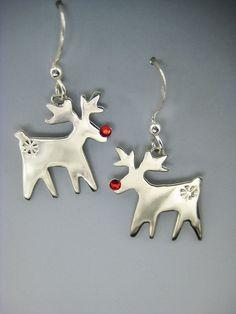 Reindeer Earrings, Silver Reindeer Earrings, Rudolph the Red Nose Reindeer Earrings