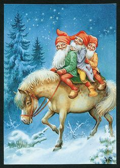 New Double Christmas Cards by Lars Carlsson Vintage Styled Swedish Christmas, Old Christmas, Christmas Gnome, Scandinavian Christmas, Christmas Pictures, Vintage Christmas, Baumgarten, Kobold, Scandinavian Gnomes