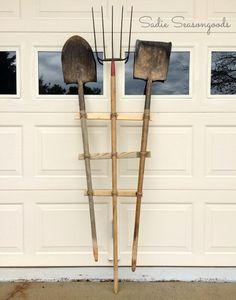 DIY garden trellis from old vintage antique yard farm tools by Sadie Seasongoods