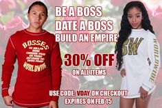 Love brings out the boss in you. 30% off on all items this #Valentines Weekend. Offer expires on Feb 15. Shop @ http://www.bossesworld.com