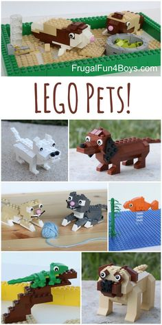 LEGO Building Instructions for dogs, cats, guinea pigs, lizard, and goldfish! Love the dachshund and the cats.