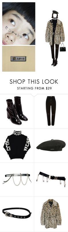 """""""#280"""" by mochji ❤ liked on Polyvore featuring River Island, kangol, ASOS, Versace, B-Low the Belt, Neith Nyer and Moschino"""