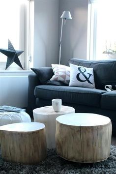 Tree-Trunk- Ideas- For-a-Warm-Decor-homesthetics Home Living Room, Living Room Decor, Living Spaces, Log Furniture, Furniture Design, Home And Deco, Scandinavian Interior, Style At Home, House Design
