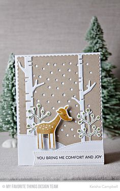 Deer Friends Stamp Set and Die-namics, Snowfall - Vertical Die-namics, Birch Trees Die-namics, Stitched Valley Die-namics, Blueprints 20 Die-namics - Keisha Campbell Funny Christmas Wishes, Christmas Card Crafts, Christmas Deer, Xmas Cards, Christmas Humor, Boutique Scrapbooking, Snowman Cards, Comfort And Joy, Winter Cards