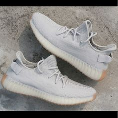 "dd88a67356bb0 Yeezy 350 ""Sesame"" Neutral gray with a gum bottom sole. Multiple sizes  available. This shoe is a head turner and an instant classic."