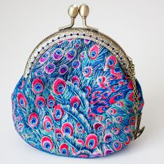 Coin Purse - Peacock feather  -  Cotton Fabric with Vintage Metal Frame in Bronze by Bag4life on Etsy