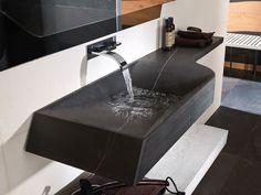 Wash basin Spirit A-cero Dark Bioprot 145 x 42 x 12 cm Small Bathroom Furniture, Wooden Bathroom, Bathroom Sink Design, Bathroom Design Luxury, Restaurant Design Moderne, Modern Bathroom Light Fixtures, Washbasin Design, Beautiful Home Designs, Home Room Design