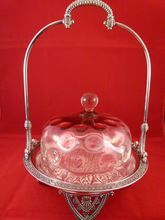 Tufts QP and Amberina Glass Cheese Server, *SOLD*