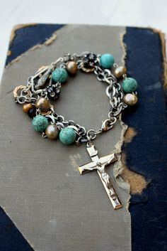 Vintage Rosary Style Bracelet With Pearl Turquoise and Rhinestone.... Homecoming