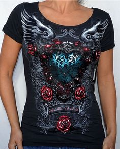 Sinful by Affliction - EMPATHETIC - Woman's Scoop Neck T-Shirt - S3186 - Black in Clothing, Shoes, Accessories, Women's Clothing, T-Shirts | eBay