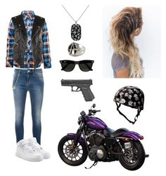 """Jax Teller as a female // Sons of Anarchy"" by mcavoy-m ❤ liked on Polyvore featuring Love Moschino, Balenciaga, NIKE, Freddie Grove, Caliber, Ray-Ban and Kiddimoto"
