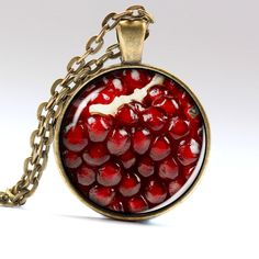 Pomegranate Necklace Red Jewelry Fruit Pendant by AimPendants