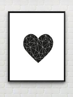 Heart Printable Art Print, Printable Geometric Wall Art, Printable Black and White Wall Decor, Minimalist,Nursery Print, Instant Download by Designsbyritz on Etsy