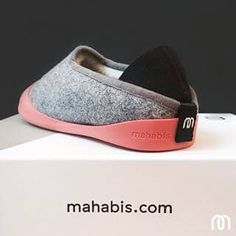 mahabis classic light grey slipper with rjukan red sole on a mahabis box…