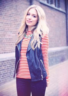 womens leather vest with striped shirt