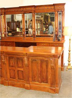 Mahogany Front - Back Bar Antique Home Pub Shop Candy Store Counter 10 Ft Long Beveled Edge Mirror, Mirror Glass, Home Pub, Antique Bar, Store Counter, Home Bar Furniture, Raised Panel Doors, Back Bar, Venetian Mirrors