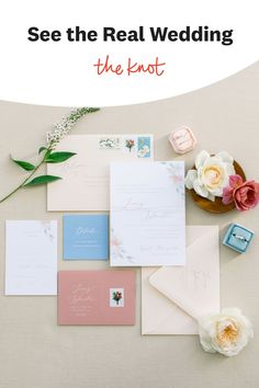 This pastel wedding stationery was featured in a real wedding album on The Knot. Like what you see? Find more from this beautiful summer wedding on The Knot. Personalize your wedding and put a spin on tradition with The Knot's customizable wedding websites, wedding invitations, registry (and more!). Not sure where to start? Get ideas and advice from our editors on everything from wedding colors and venue types to all things guest. Wedding Stationery, Wedding Planner, Invitation Suite, Invitations, Blue Wedding, Wedding Day, Happy Colors, Wedding Favors, Real Weddings
