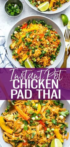 This Instant Pot Chicken Pad Thai is a super quick and easy one pot pad thai rec. - This Instant Pot Chicken Pad Thai is a super quick and easy one pot pad thai recipe that is perfect - Instant Pot Dinner Recipes, Healthy Dinner Recipes, Thai Food Recipes Easy, Healthy Instapot Recipes, Breakfast Recipes, One Pot Pad Thai Recipe, Easy One Pot Meals, Healthy One Pot Meals, Paleo Meals
